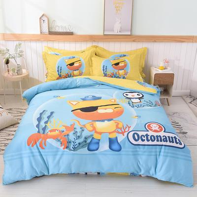 2019新款纯棉卡通床上用品四件套全棉男孩儿童床单人被套4件套女孩 1.5m(床单款四件套) 巴克队长