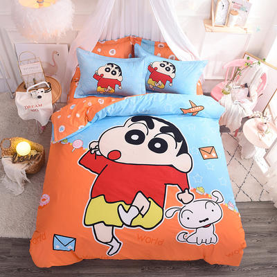 2019新款纯棉卡通床上用品四件套全棉男孩儿童床单人被套4件套女孩 1.5m(床单款四件套) 蜡笔小新
