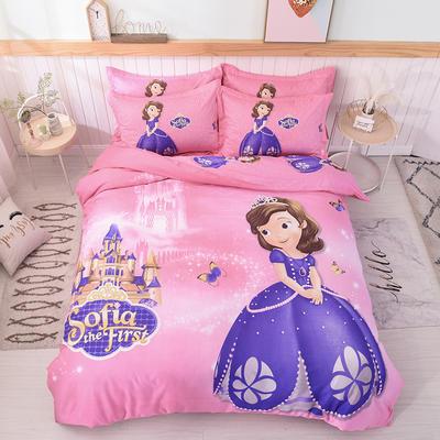 2019新款纯棉卡通床上用品四件套全棉男孩儿童床单人被套4件套女孩 1.5m(床单款四件套) 索菲公主