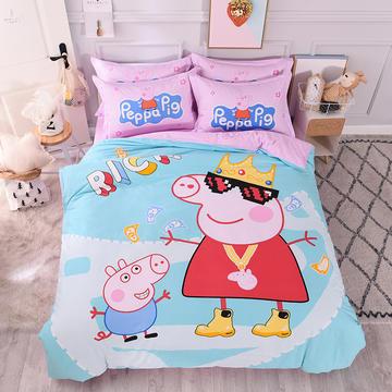 2019新款纯棉卡通床上用品四件套全棉男孩儿童床单人被套4件套女孩