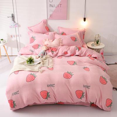 2019新款法莱绒四件套 1.5-1.8m床单款 粉底草莓