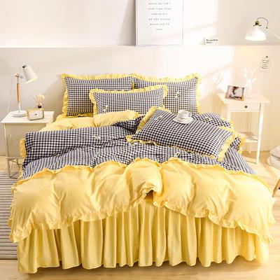 2020韩版磨毛床裙款四件套 1.5m床裙款四件套 小蜂蜜