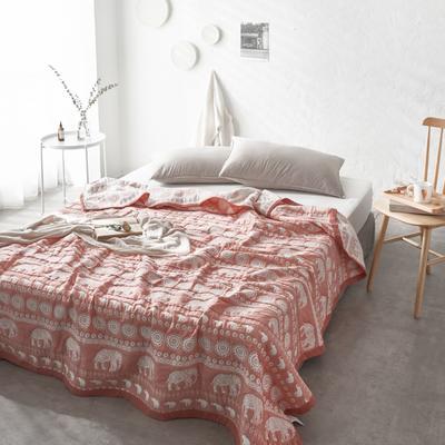 60支水洗棉色织提花空气层夏被盖毯 200cm*230cm 大象橘