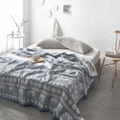 60支水洗棉色织提花空气层夏被盖毯 200cm*230cm 大象蓝