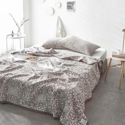 60支水洗棉色织提花空气层夏被盖毯 200cm*230cm 欧典豆沙