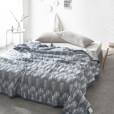 60支水洗棉色织提花空气层夏被盖毯 200cm*230cm 小鱼蓝