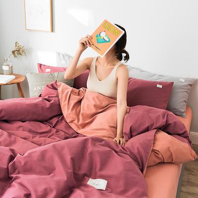 2019新款莫兰迪磨毛纯色双拼系列四件套 1.5m床单款四件套 海棠红