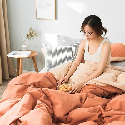 2019新款莫兰迪磨毛纯色双拼系列四件套 1.5m床单款四件套 焦糖咖