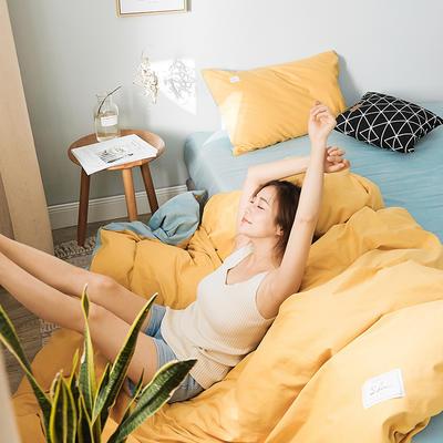 2019新款莫兰迪磨毛纯色双拼系列四件套 1.5m床单款四件套 芥末黄