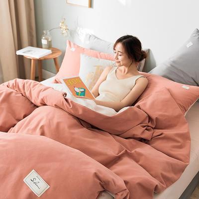 2019新款莫兰迪磨毛纯色双拼系列四件套 1.5m床单款四件套 珊瑚红