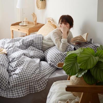 2020新款韩版荷叶边公主系列全棉四件套 1.5m床单款四件套 小灰格