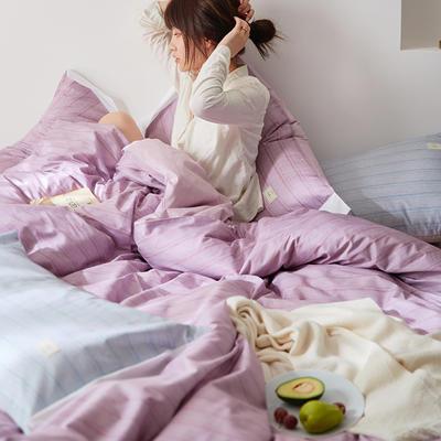 2020新款肌理色彩条纹斯蒂文系列全棉四件套 1.5m床单款四件套 斯蒂文-豆沙紫