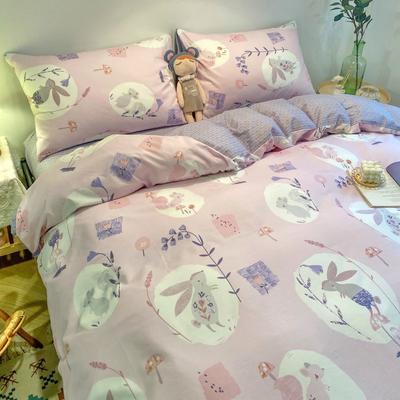 2020新款13372全棉花样年华系列四件套合辑2 1.5m床单款四件套 紫色小兔兔