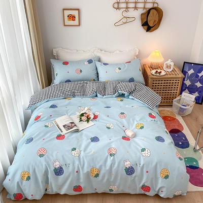 2020新款全棉13372秋冬暖居系列四件套 1.5m床单款四件套 莓莓兔(蓝)