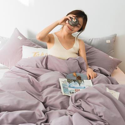 2020新款莫兰迪全棉磨毛纯色双拼系列四件套 1.5m床单款四件套 香芋紫
