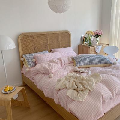 2020新款A类色织baby双层纱luna room可爱多三色系列四件套 1.8m床单款四件套 可爱多粉