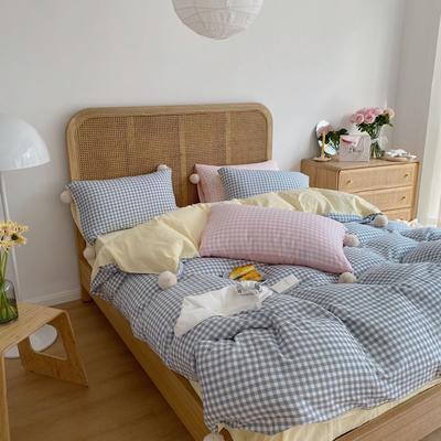 2020新款A类色织baby双层纱luna room可爱多三色系列四件套 1.8m床单款四件套 可爱多蓝