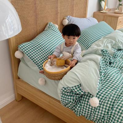 2020新款A类色织baby双层纱luna room可爱多三色系列四件套 1.8m床单款四件套 可爱多绿