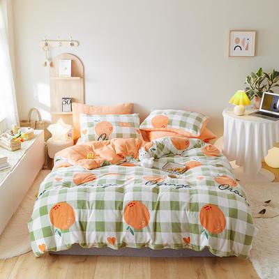 2020新款牛奶绒小清新系列四件套 1.5m床单款四件套 橘子甜心