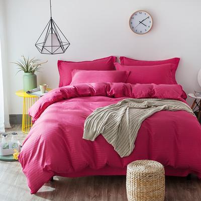 缎条四件套 标准床单式 玫红