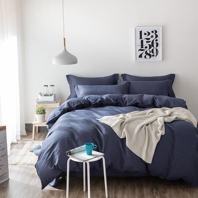 缎条四件套 标准床单式 深蓝