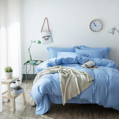缎条四件套 标准床单式 天蓝