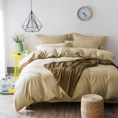 缎条四件套 标准床单式 驼色