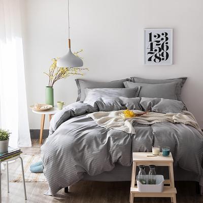 缎条四件套 标准床单式 银灰