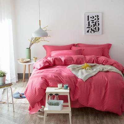 缎条四件套 标准床单式 砖红