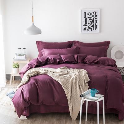 缎条四件套 标准床单式 紫红
