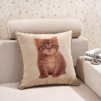 棉麻大提花个性抱枕 50X50cm 萌猫
