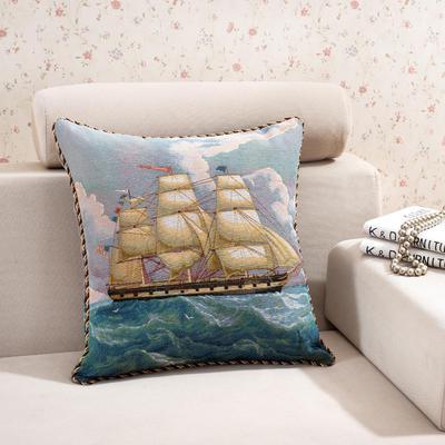 棉麻大提花个性抱枕 50X50cm 一叶帆船
