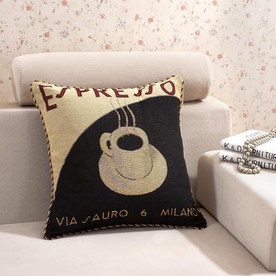 棉麻大提花个性抱枕 50X50cm 浓情咖啡