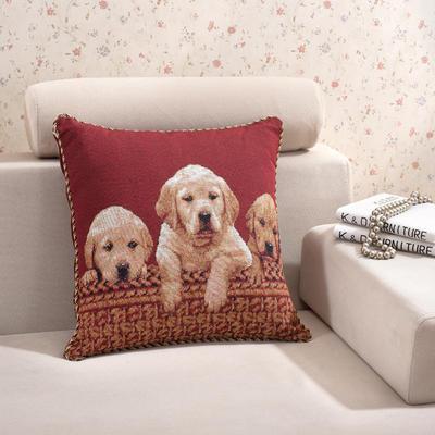 棉麻大提花个性抱枕 50X50cm 三件狗