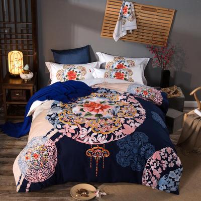 活性加厚生态磨毛系列四件套 (专版花型) 标准(1.5m床-1.8m床) 盛世牡丹-蓝
