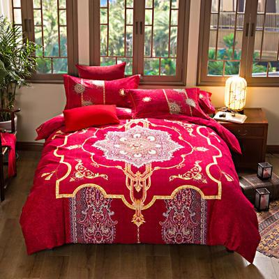 活性加厚生态磨毛系列四件套 (婚庆系列) 标准(1.5m床-1.8m床) 倾国红妆