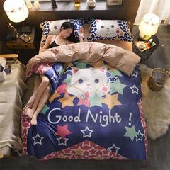 雕花绒四件套(平网) 标准(1.5m床-1.8m床) 猫咪