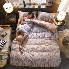 雕花绒四件套(圆网) 标准(1.5m床-1.8m床) 爱的小屋-驼
