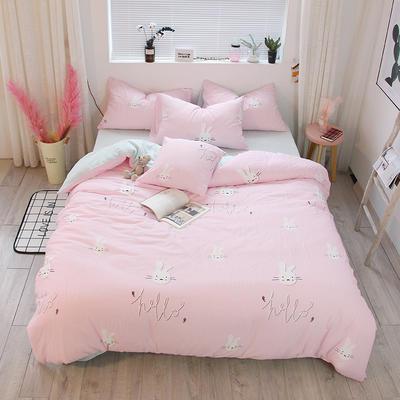 简约小清新双层纱系列四件套 1.35m床及以下/床单款 兔子