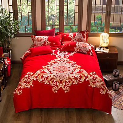 活性加厚生态磨毛系列四件套 (婚庆系列) 标准(1.5m床-1.8m床) 爱相随-红
