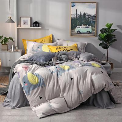 2018法莱绒四件套 1.8m(6英尺)床 顽皮大象(圆网)