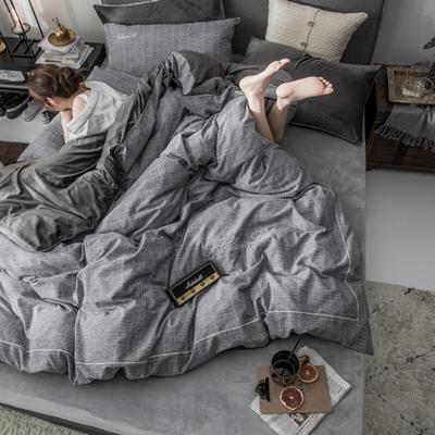 2018原创轻奢保暖棉绒四件套 1.5m床单款 巴特-铁灰