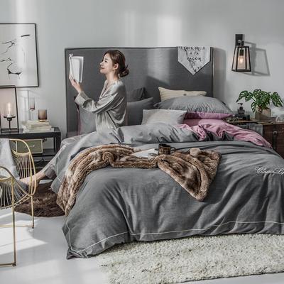 2018原创轻奢保暖棉绒四件套 1.5m床单款 戈思-高冷灰