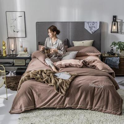 2018原创轻奢保暖棉绒四件套 1.5m床单款 莱茵-咖