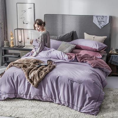 2018原创轻奢保暖棉绒四件套 1.5m床单款 魅惑-紫