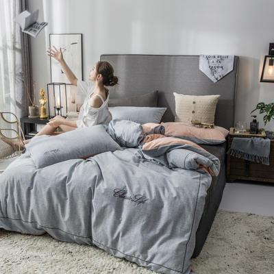 2018原创轻奢保暖棉绒四件套 1.5m床单款 诺伊-灰驼