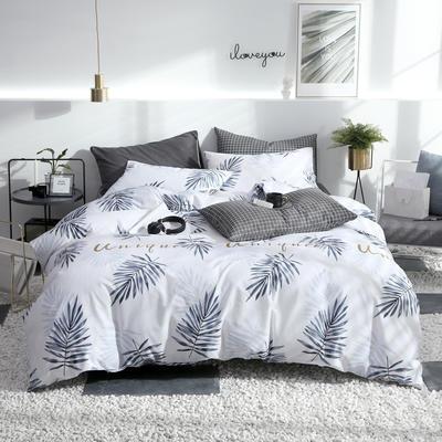 2019新款ins风四件套 1.2m(4英尺)床(床单款) 木槿暖夏-白