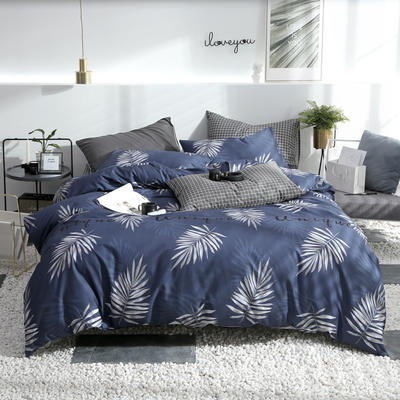 2019新款ins风四件套 1.2m(4英尺)床(床单款) 木槿暖夏-蓝