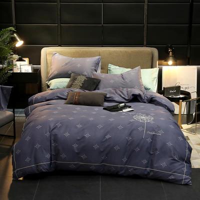 2019新款轻奢刺绣四件套 1.5m(5英尺)床 飘絮-灰