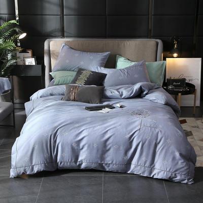 2019新款轻奢刺绣四件套 1.5m(5英尺)床 飘絮-蓝灰